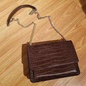 Faux Croc Crossbody Bag